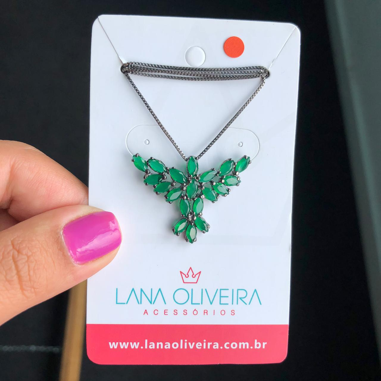 Colar Espírito Santo Com Pedra Verde Esmeralda