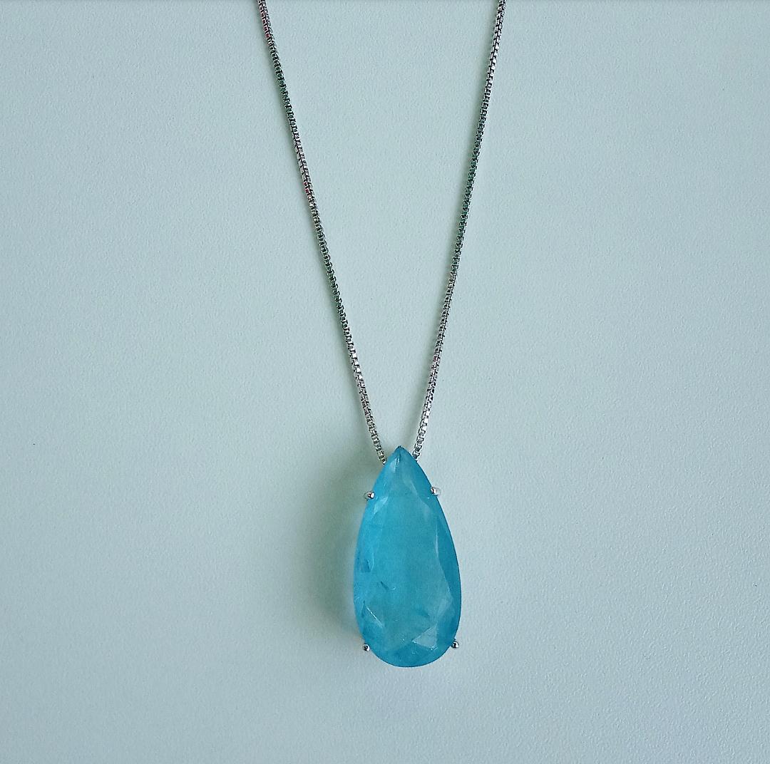 Colar Gota Com Pedra Azul Niágara Fusion