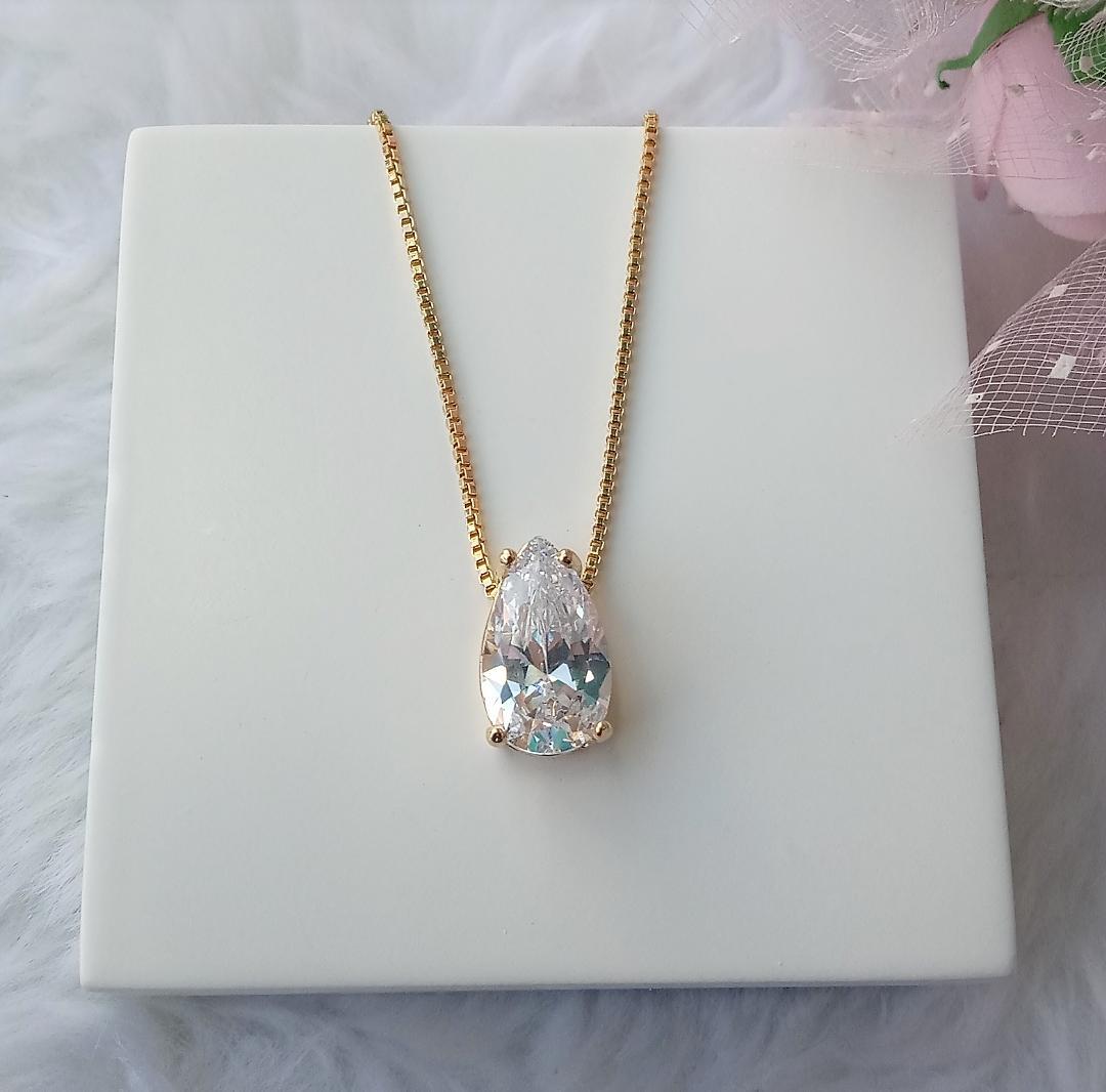 Colar Gota Cristal Pequena