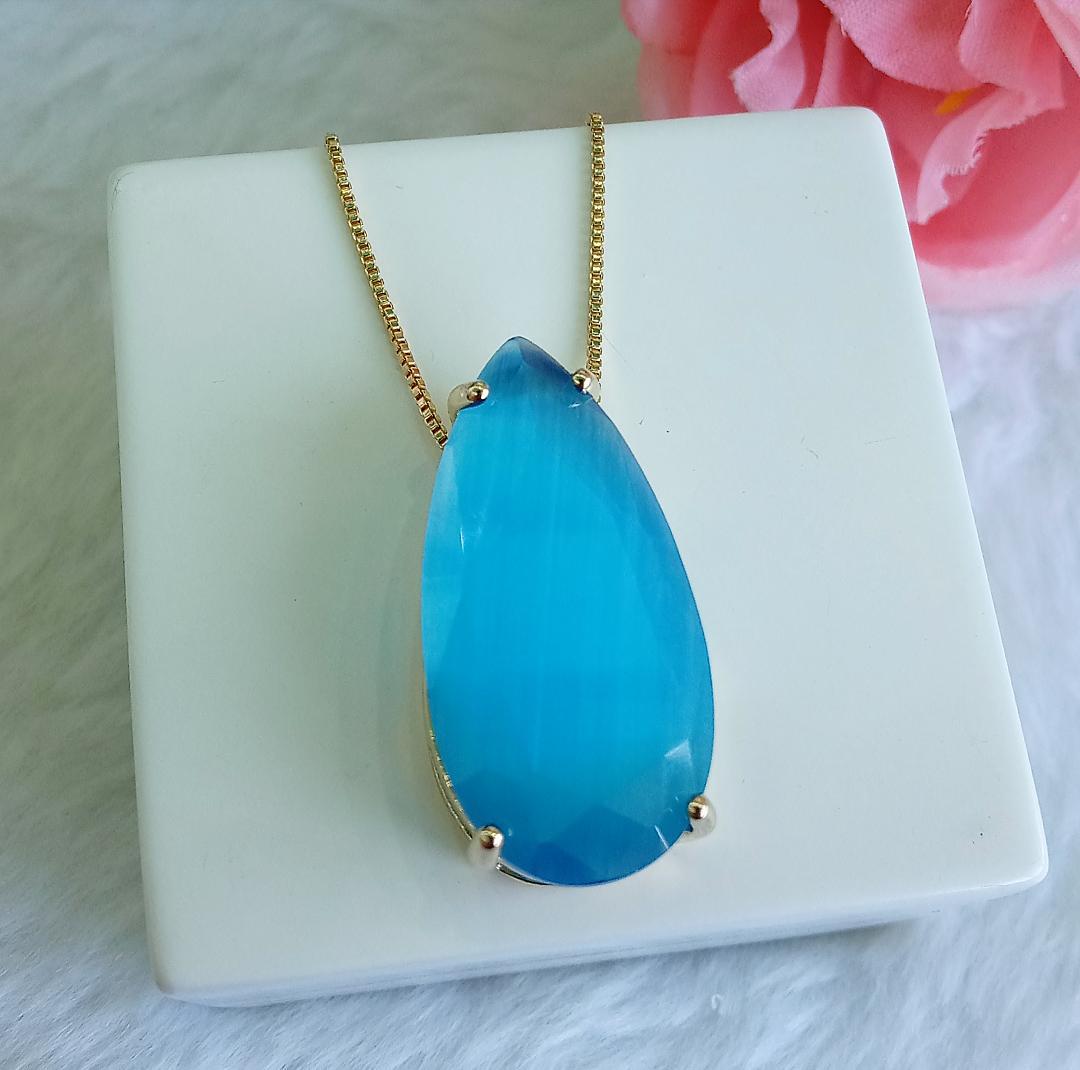 Colar Gota Olho De Gato Com Pedra Azul Safira