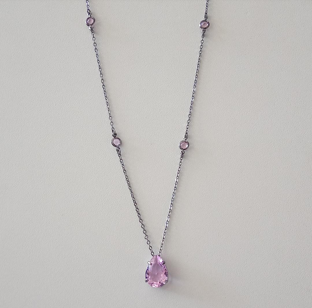 Colar Gota Rosa Incandescente Com Corrente Tiffany