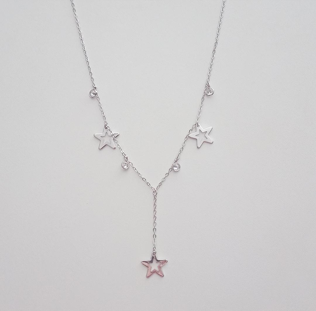 Colar Gravatinha Estrelas E Pontos de Luz Pendurados