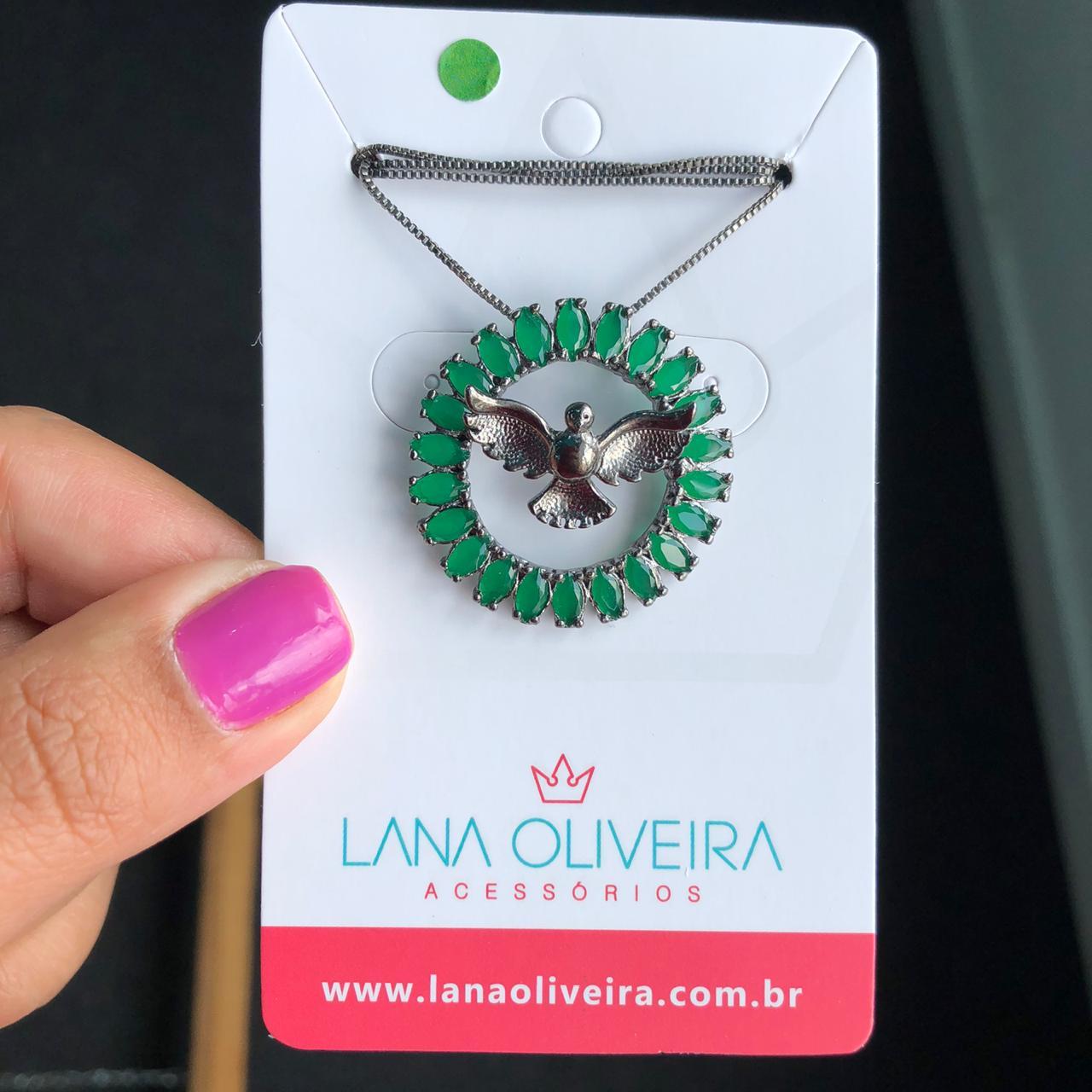 Colar Mandala Espírito Santo Com Pedra Verde Esmeralda