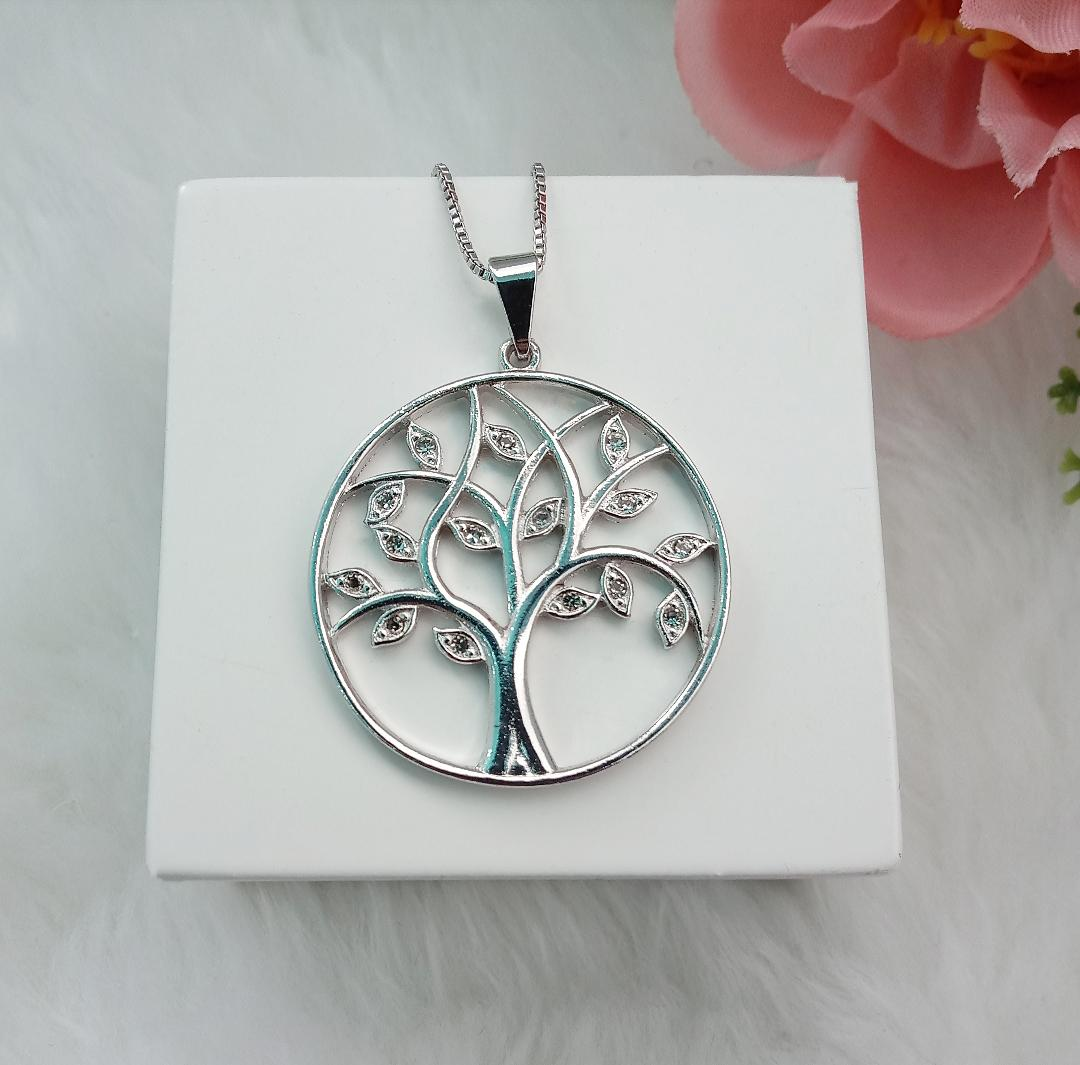 Colar Medalha Árvore Da vida Com Zircônias