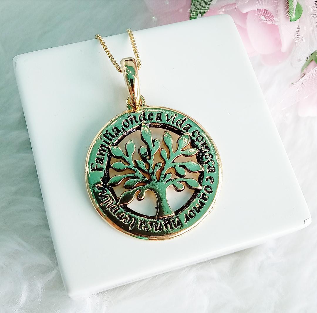 Colar Medalha Árvore Da Vida Envelhecido