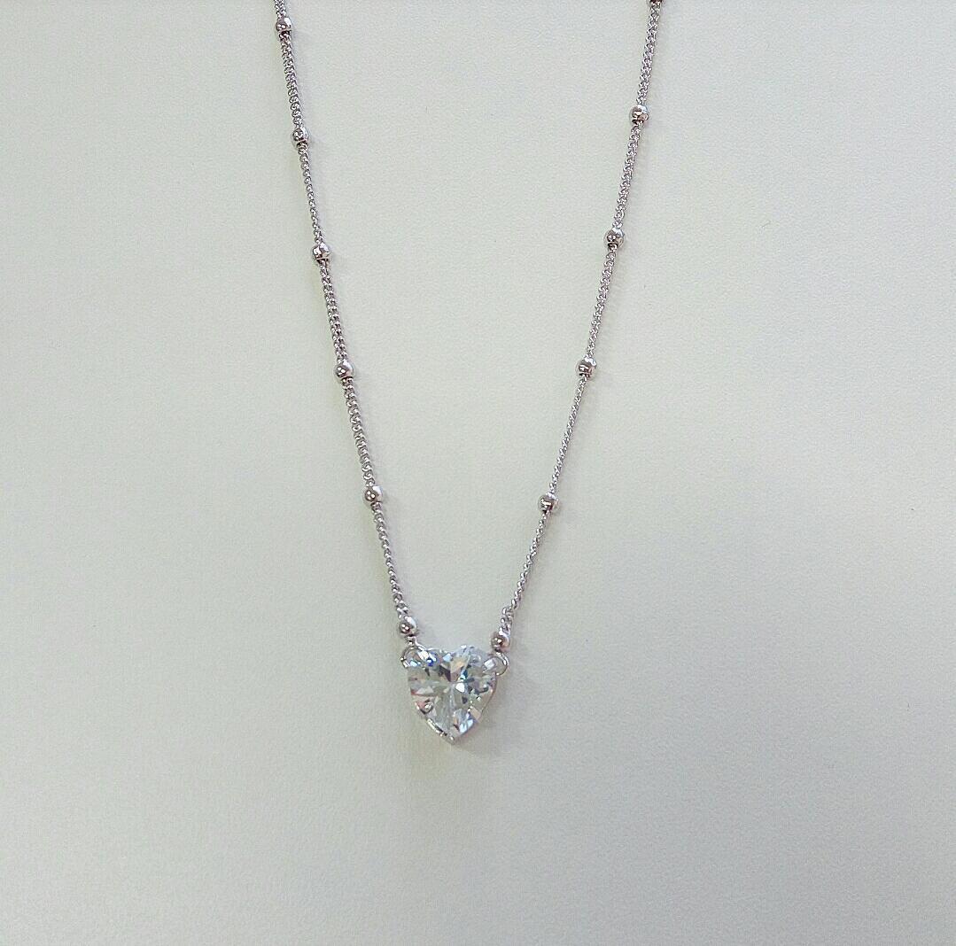 Colar Mini Bolas e Coração Pedra Cristal