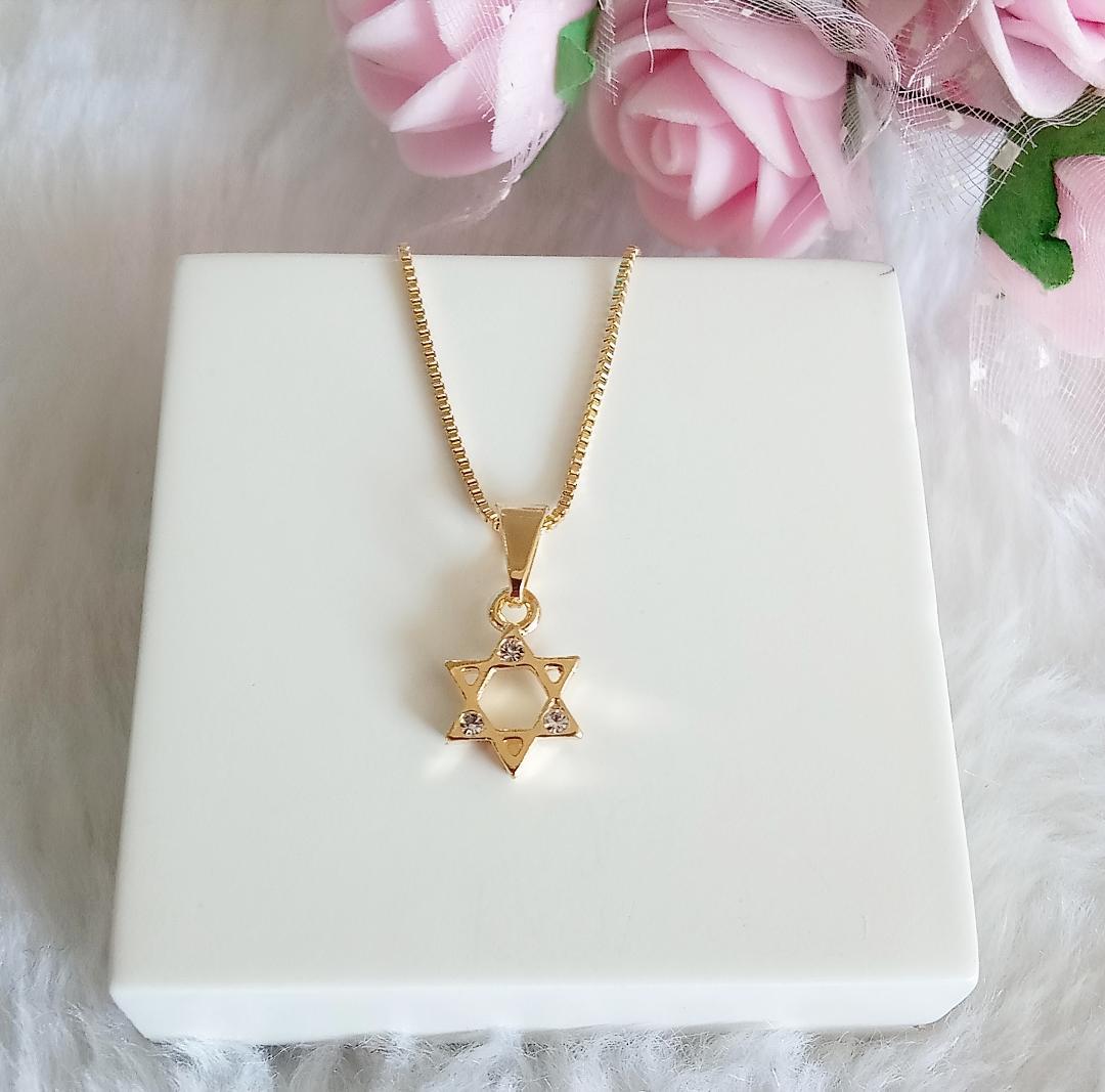 Colar Mini Estrela De Davi Com Zircônias