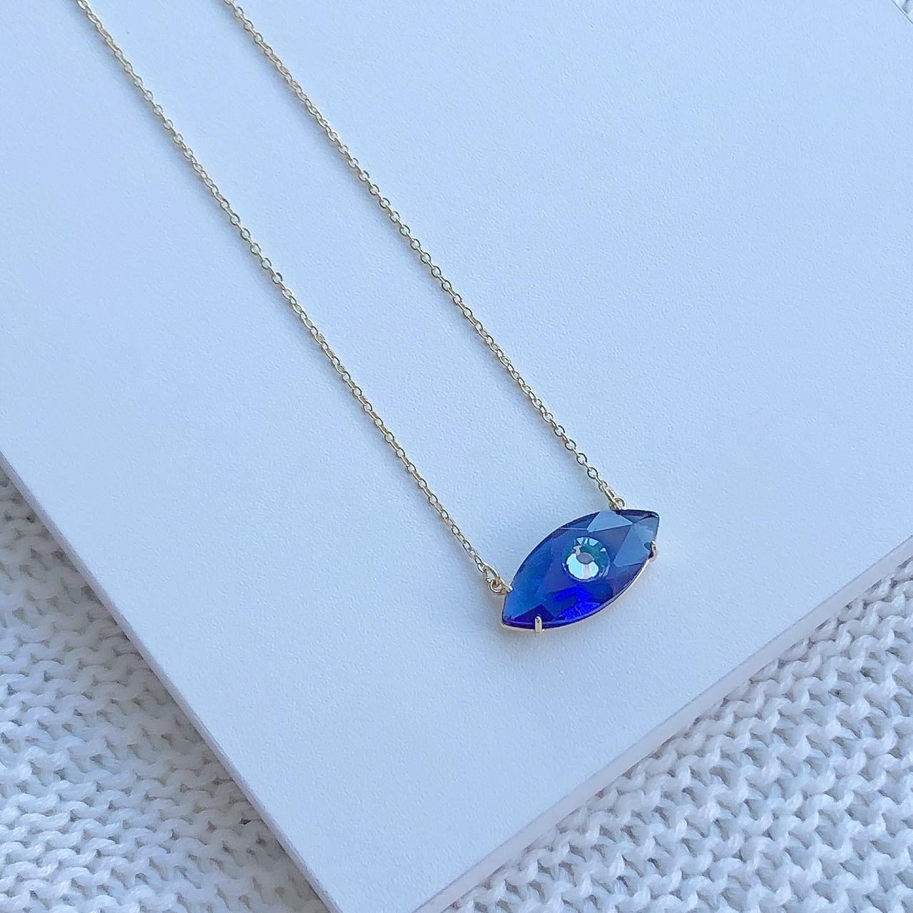 Colar Olho Grego Pedra Azul Safira