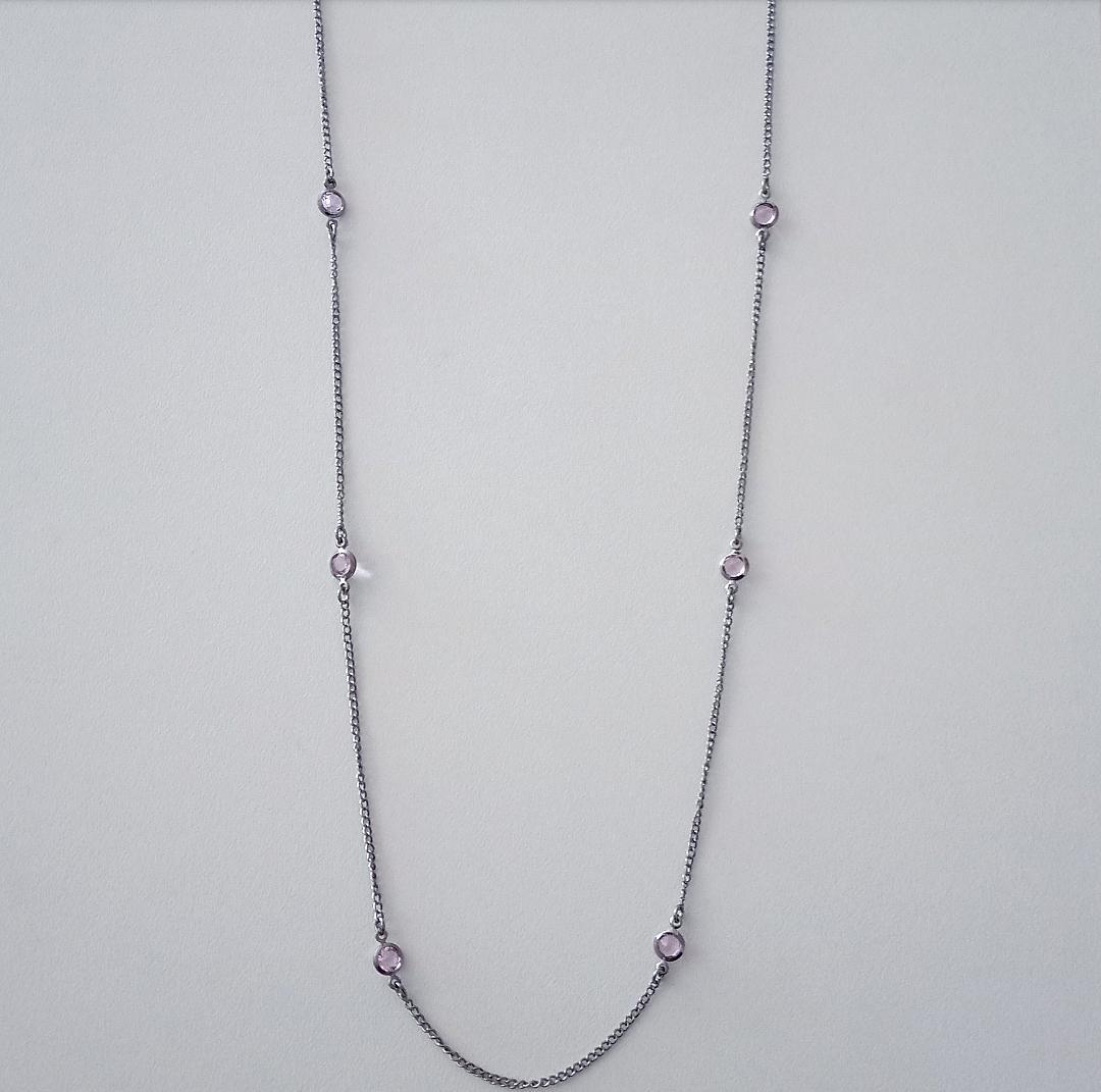 Colar Tiffany Com Pedras Rosa Incandescente
