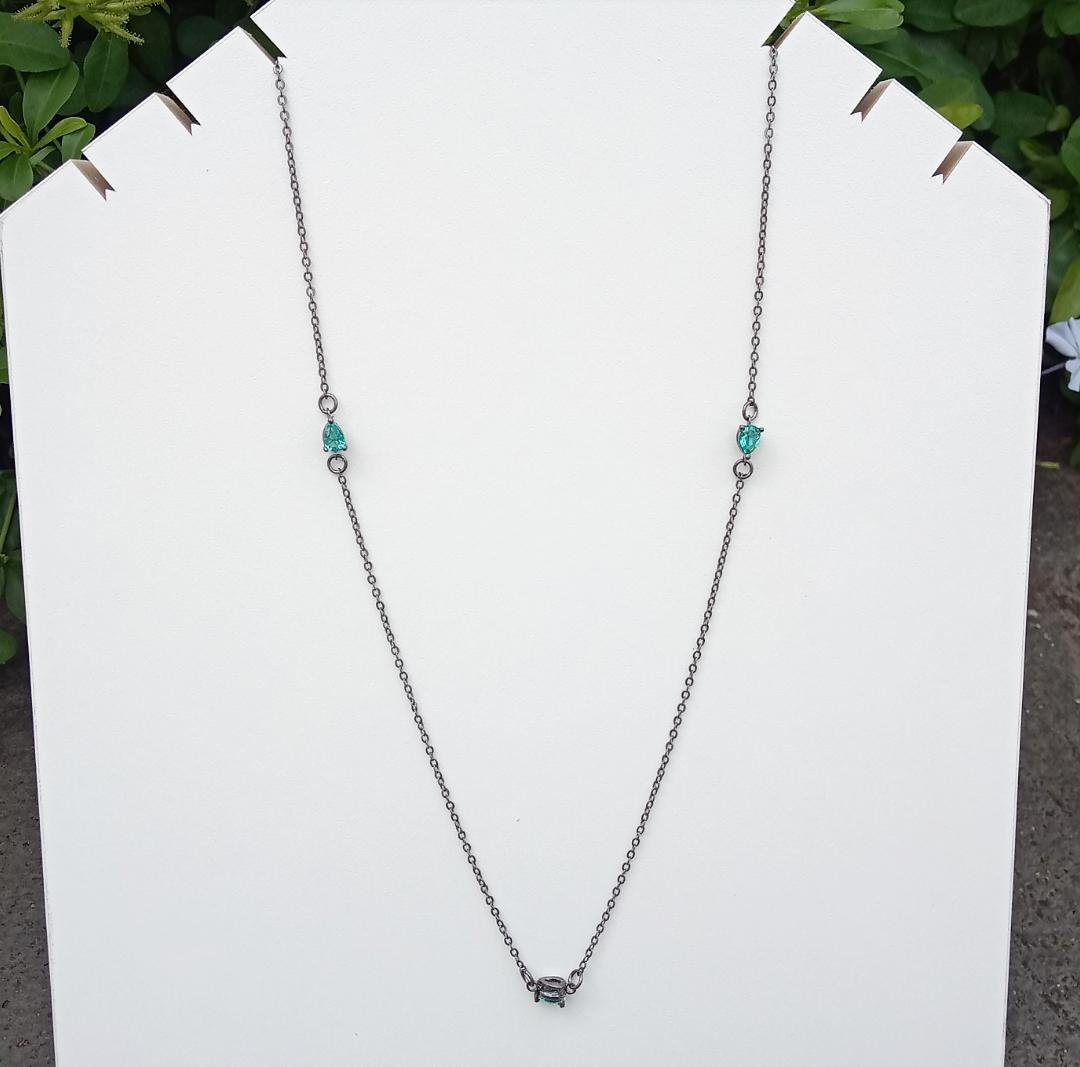 Colar Tiffany Gotas Com Pedra Turmalina Brilhante