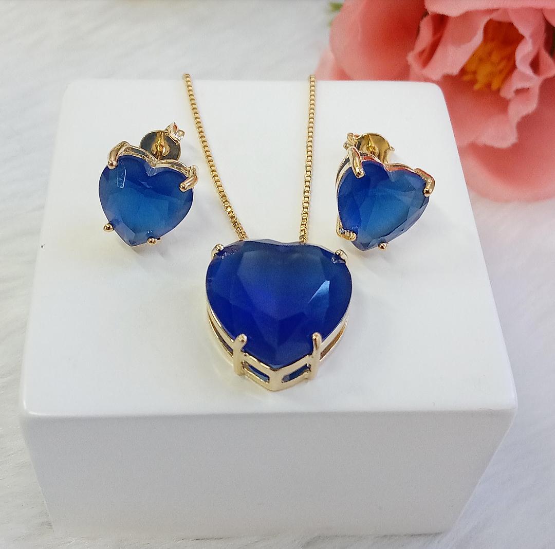 Conjunto Coração Com Pedra Azul Safira