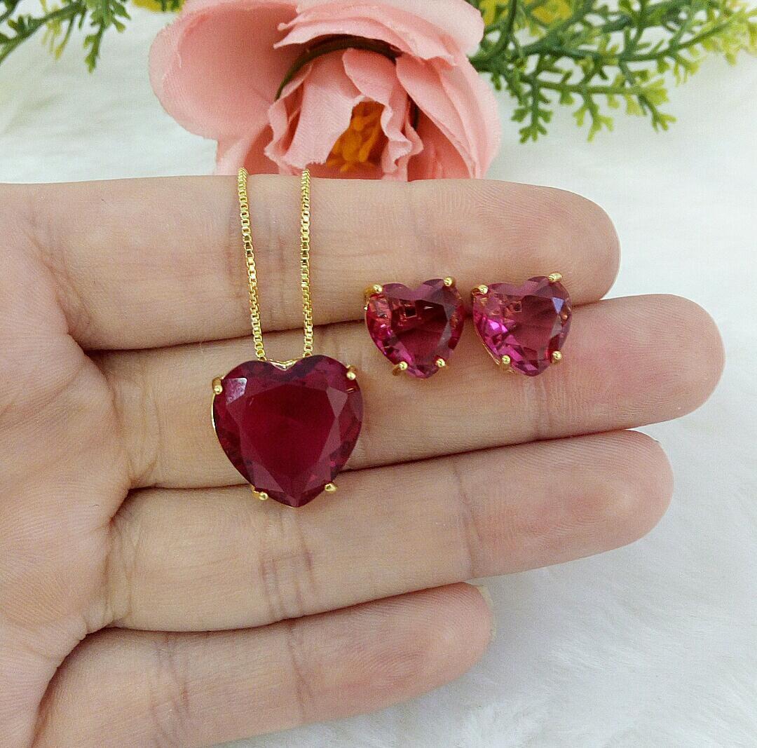 Conjunto Coração Com Pedra Rubelita
