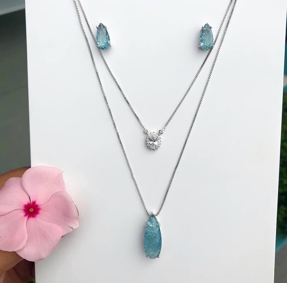 Conjunto Gota Com Pedra Fusion Azul Claro