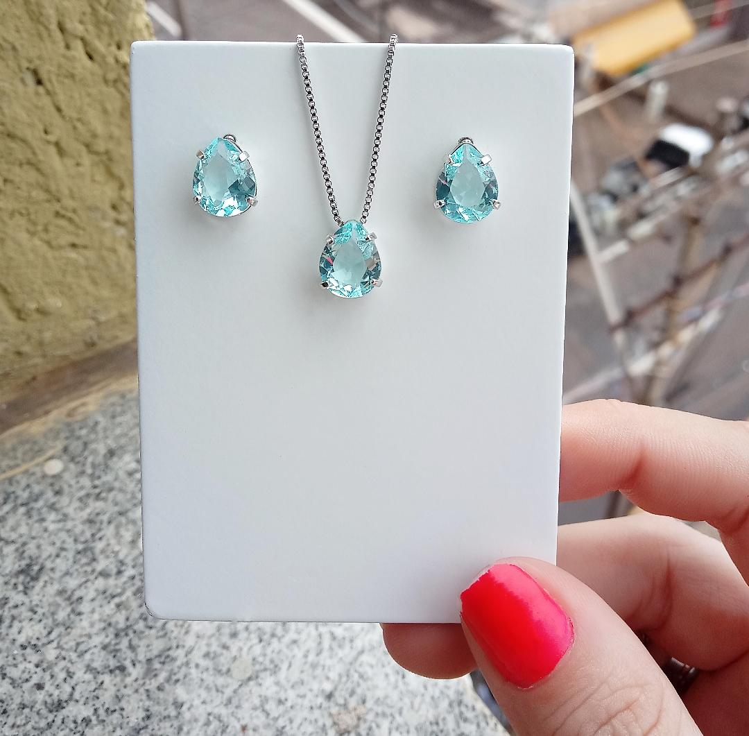 Conjunto Gota Pedra Aquamarine