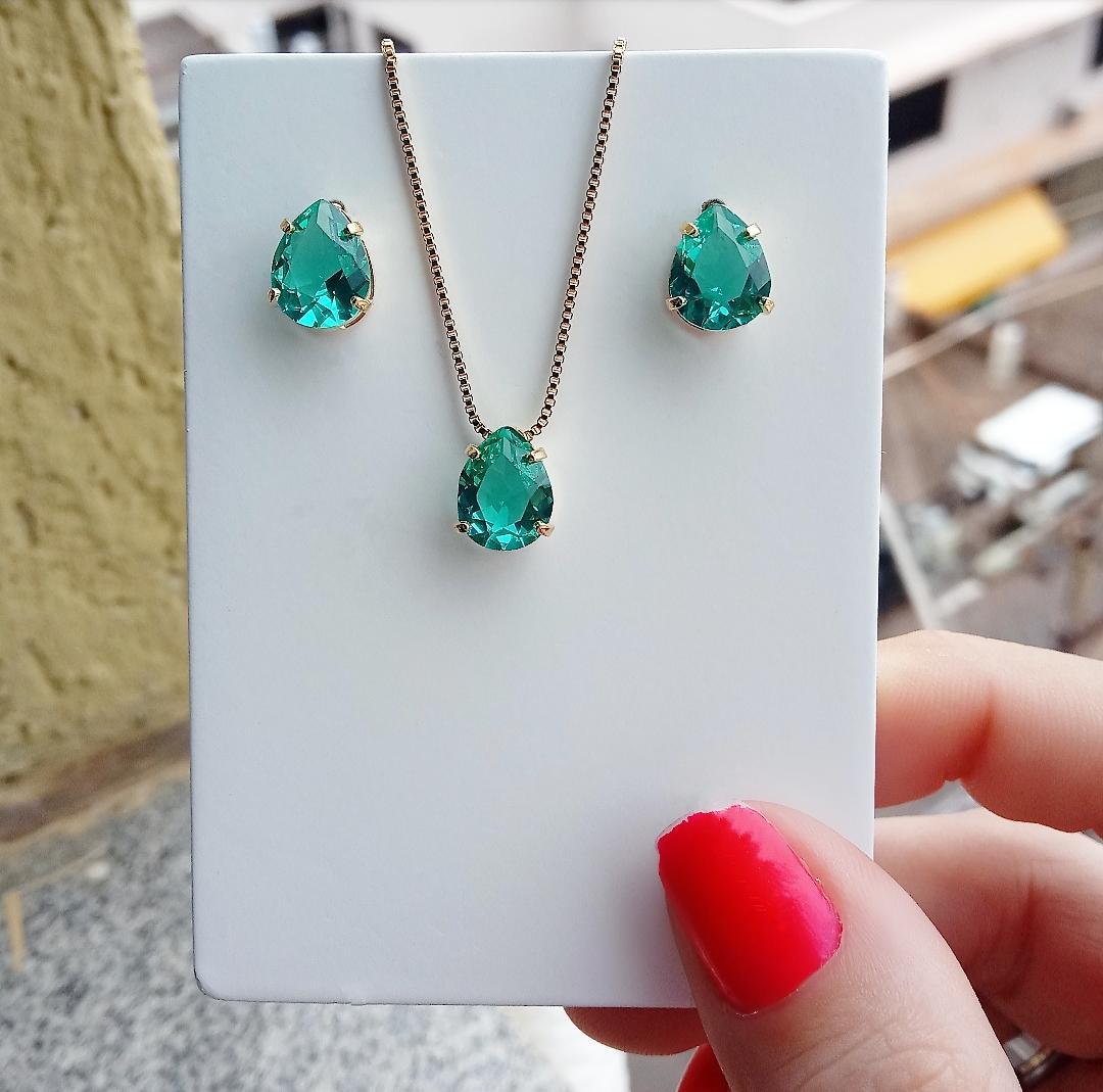 Conjunto Gota Pedra Verde Incandescente