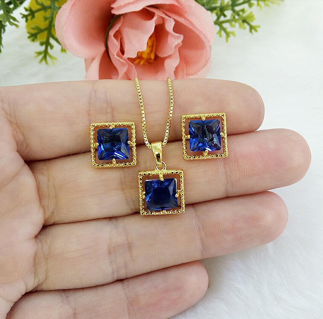 Conjunto Quadrado Com Pedra Azul Safira
