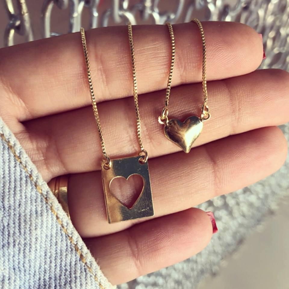 Escapulário Coração Liso E Placa Com Coração Vazado