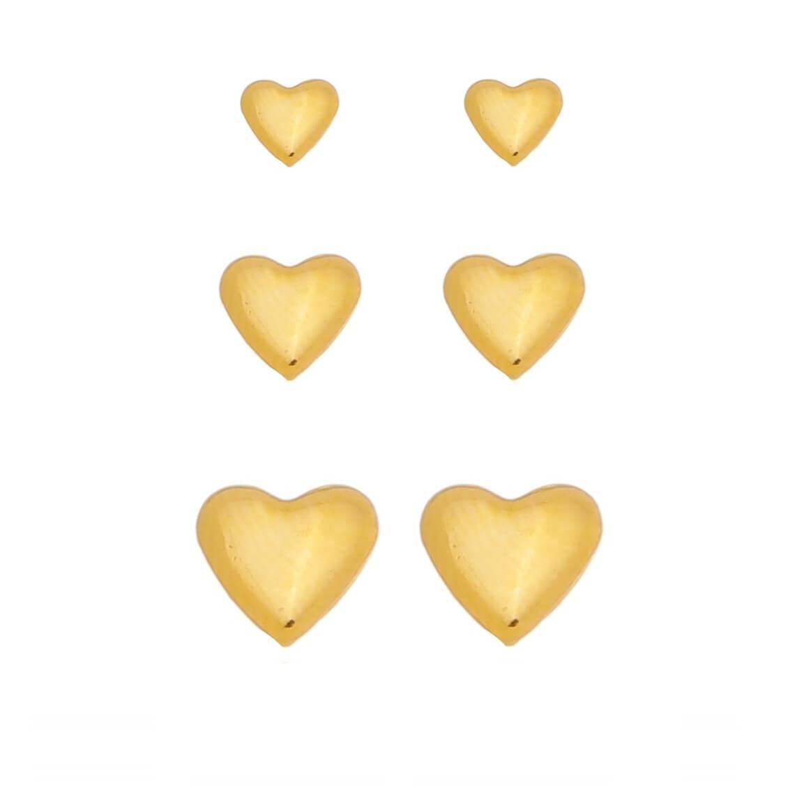 Kit de Brincos Coração Liso