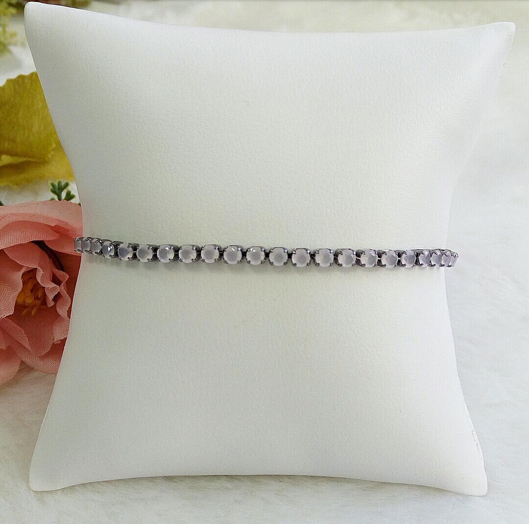 Pulseira Gravatinha Com Pedras De Zircônia Rosa Leitoso