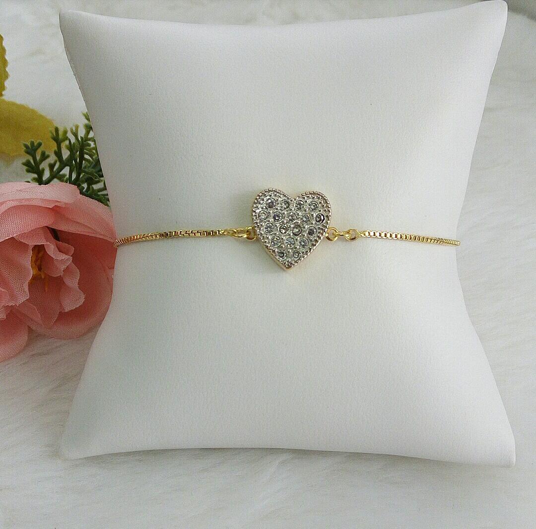 Pulseira Gravatinha Coração Com Ródio Branco