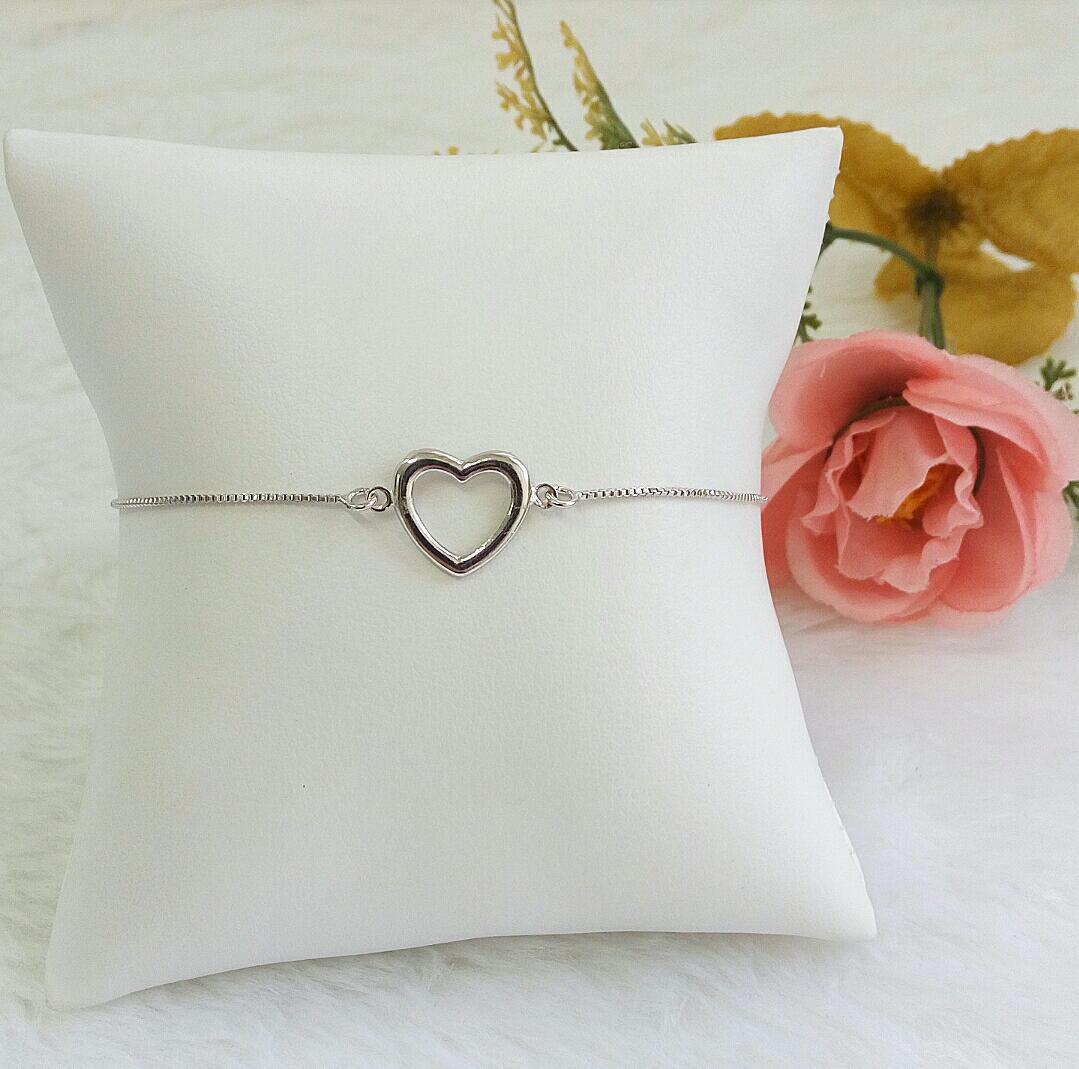 Pulseira Gravatinha Coração Vazado Liso