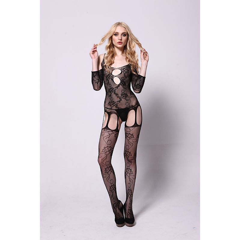 BODYSTOCKING MACACÃO RENDADO PRETO 3534