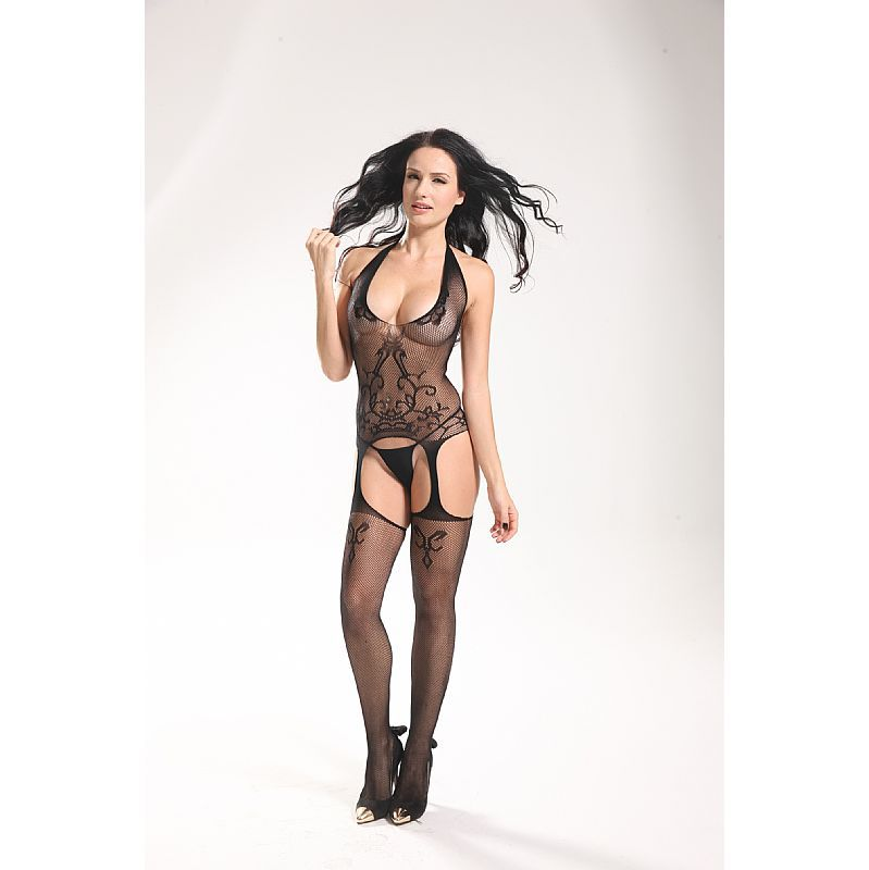BODYSTOCKING MACACÃO RENDADO PRETO 3537