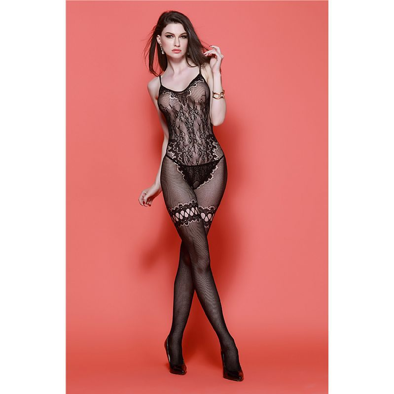 BODYSTOCKING MACACÃO RENDADO PRETO 3575