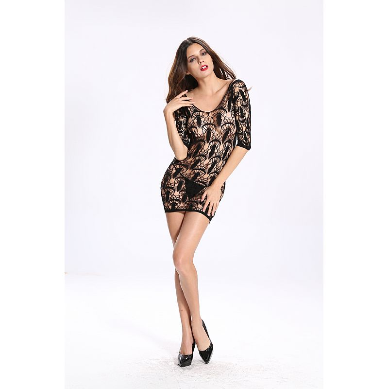 BODYSTOCKING MINI VESTIDO PRETO 3506