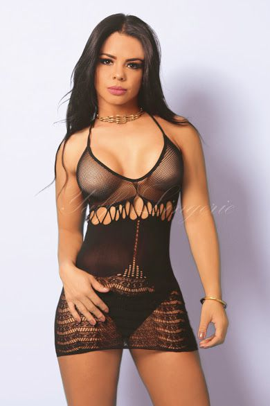 BODYSTOCKING MINI VESTIDO PRETO Y6031