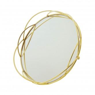 Bandeja Decorativa Espelhada Redonda em Metal Dourada 24cm