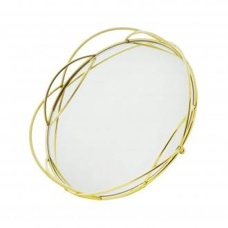 Bandeja Decorativa Espelhada Redonda em Metal Dourada 27cm