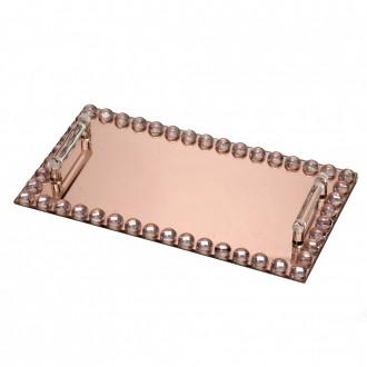 Bandeja Decorativa Retangular em Vidro Rose Gold 36cm