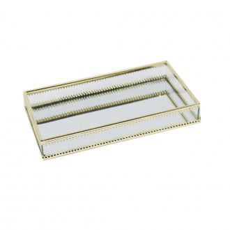 Bandeja Espelhada em Metal Dourada 24cm