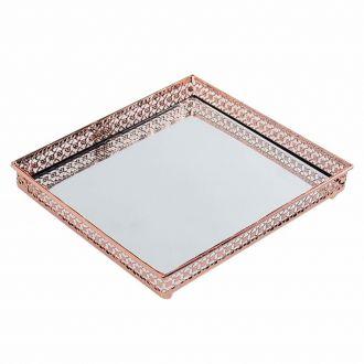 Bandeja Quadrada Cobre em Metal Espelhada 16,5x16,5cm