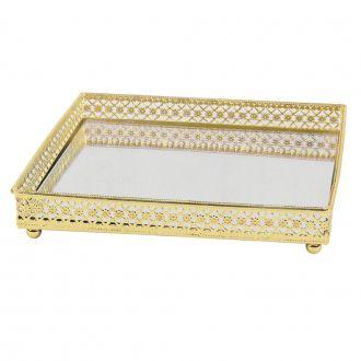 Bandeja Quadrada Dourada em Metal Espelhada 16,5 x 16,5cm