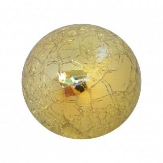 Bola Decorativa em Vidro Espelhado Craquele Dourada
