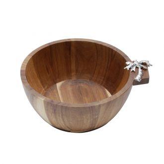 Bowl de Madeira Acácia com Detalhe Palmeira em Zamac 25x11cm