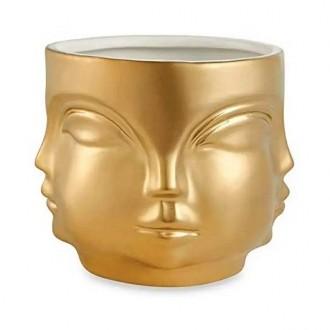 Cachepot Buda de Cerâmica Dourado Grande
