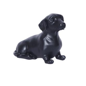 Escultura Cachorro Basset Decorativa em  Resina Preto