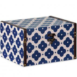 Caixa Baú Decorativa Azul e Bege - Grande