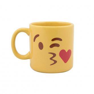 Caneca Amarela Emoji Beijo 300ml