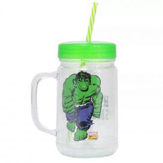 Caneca Pote com Canudo PVC Hulk 700ml
