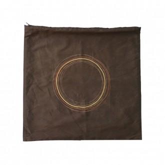 Capa de Almofada Marrom com Círculos Dourados 45x45