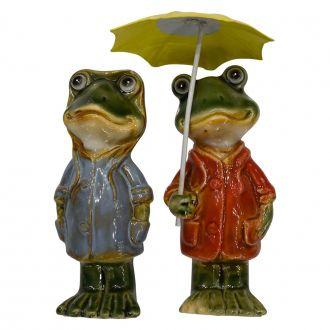Casal de Sapos Decorativos Guarda-Chuva em Cerâmica