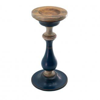 Castiçal Rústico de Madeira 32cm Azul