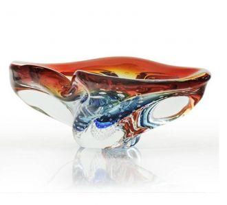 Cinzeiro de Cristal Murano Aquamarine com Vermelho
