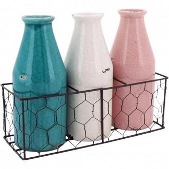 Conjunto 3 Garrafas Decorativas em Cerâmica Com Suporte de Metal