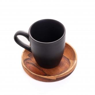 Conjunto 4 Xícaras de Café 93 ml com Pires de Madeira Teca Woodart
