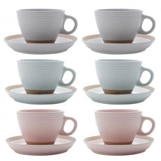 Conjunto 6 Xícaras de Chá em Cerâmica 200ml com Pires Romance Colorida